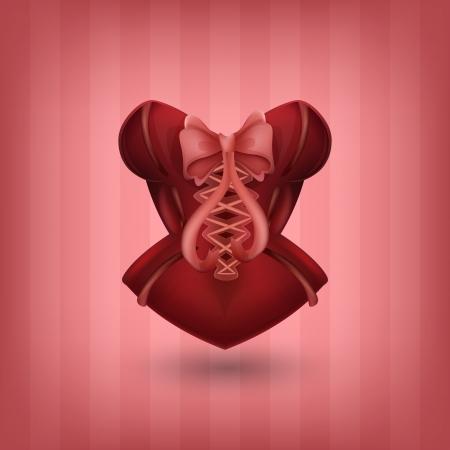 Lady s roten Korsett Vektorgrafik