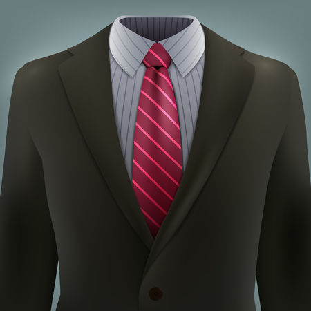 grey business suit with a tie