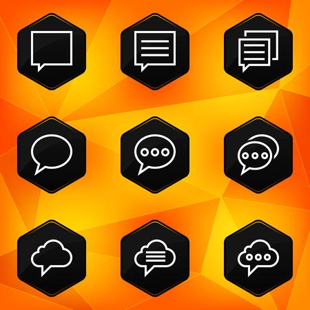 fond abstrait orange: Bulle ic�nes hexagonaux fix�s sur fond abstrait orange Illustration