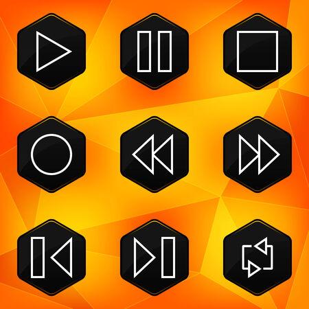 fond abstrait orange: Ic�nes joueur hexagonaux fix�s sur le fond abstrait orange
