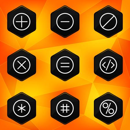 fond abstrait orange: Symbole ic�nes hexagonales mis sur fond abstrait orange Illustration