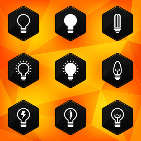 low light: Bulbs  Hexagonal icons set on abstract orange background