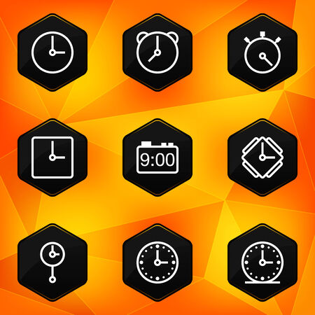 Clock and Time  Hexagonal icons set on abstract orange background Vector