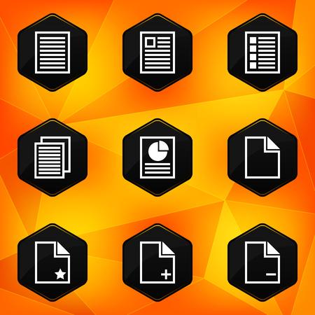 fond abstrait orange: Ic�nes papier hexagonales fix�s sur fond abstrait orange