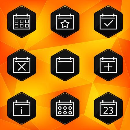 fond abstrait orange: Ic�nes Calenadar hexagonales mis sur fond abstrait orange