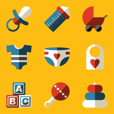 baby diaper: Flat icon set. Baby. Children. Family. Vector illustration in eps10 Illustration