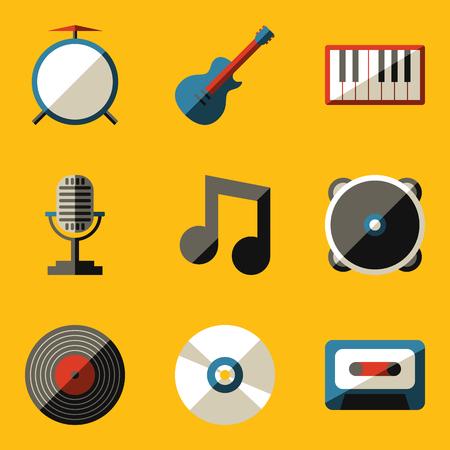 Flat icon set. Music. Vector illustration Vector