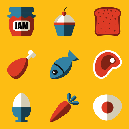 Flat icon set. Food. Vector illustration Vector