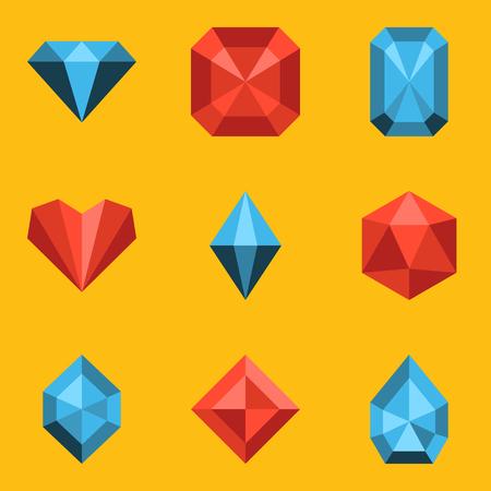 gems: Flat icon set. Diamond. Vector illustration