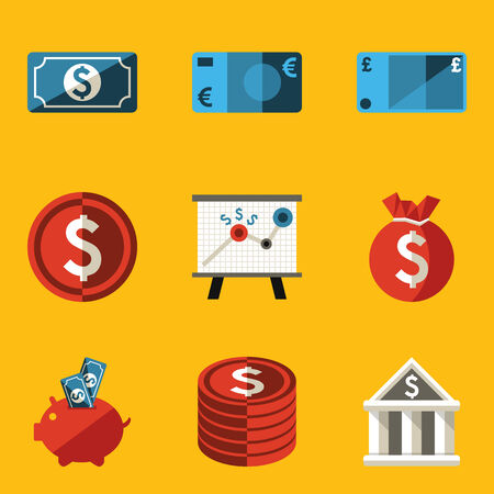 pound coin: Flat icon set  Money  Vector illustration