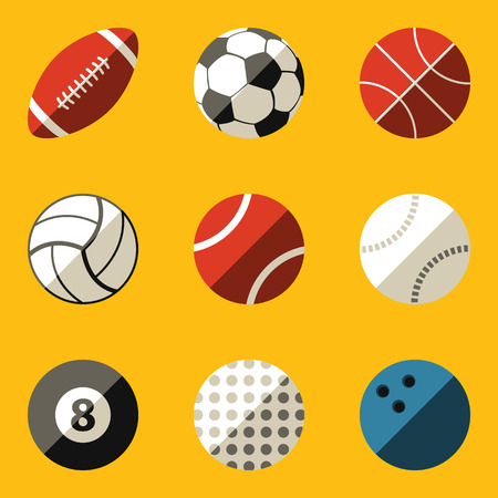 Flat icon set  Sport ball Vector illustration  Vector
