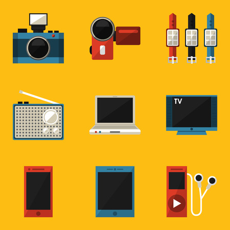 Flat icon set  Device  Vector illustration  Vector