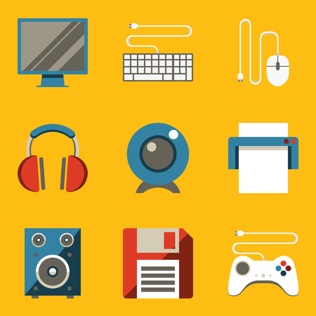 Flat icon set  Computer  Vector illustration in eps10 Vector