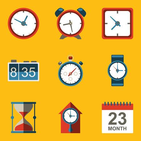 Flat icon set  Time  Clock  Vector illustration