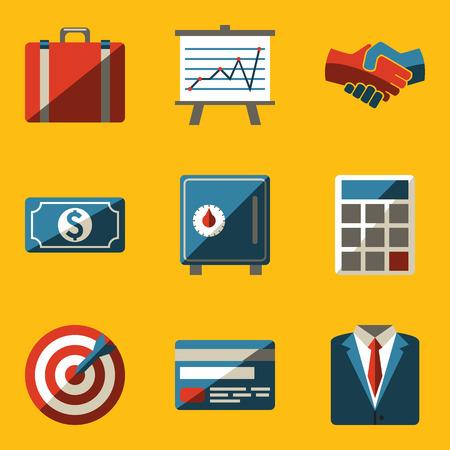 gray suit: Flat icon set  Business  Vector illustration  Illustration