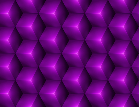3d Abstract seamless background with purple cubes Vector