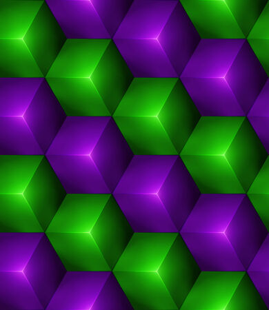 3d Abstract seamless background with green and purple cubes Vector