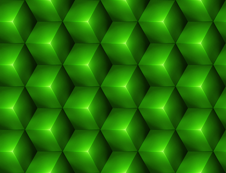 3d Abstract seamless background with green cubes Vector
