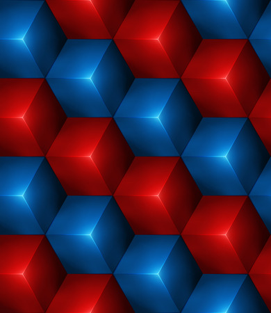 3d Abstract seamless background with blue and red cubes Vector