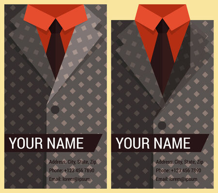 Flat business card template with gray jacket Vector