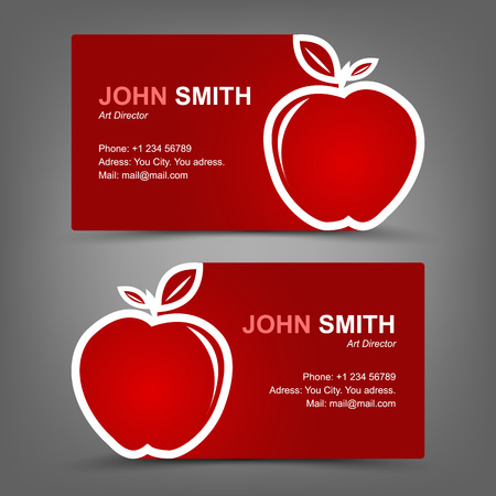 Business card red apple Vector