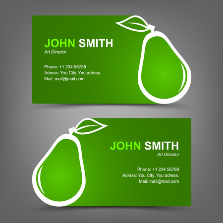 Business card green pear Vector