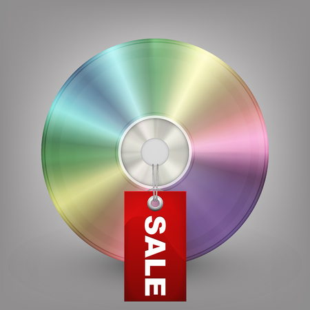 blu ray: Blue-ray, DVD or CD disc with label sale  Vector illustration Illustration