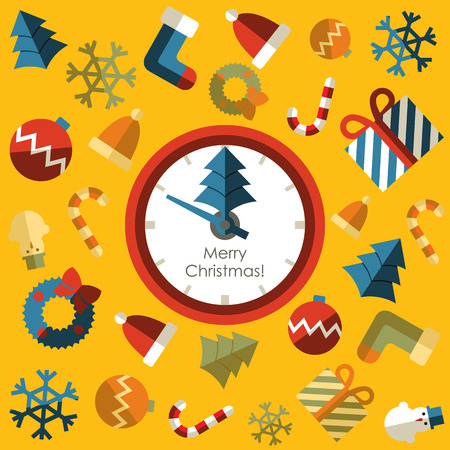 Clock  Merry christmas with background icon Vector