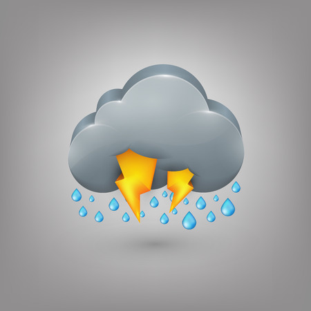 storm cloud: Icon weather  Rain cloud lightning Illustration
