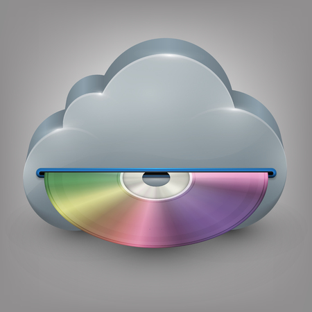 compact disk: Blue-ray, DVD or CD disc with cloud