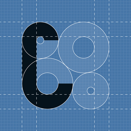 paper art projects: Round engineering font. Symbol C Vector illustration in eps10