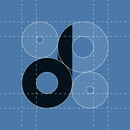 d: Round engineering font. Symbol D Vector illustration in eps10