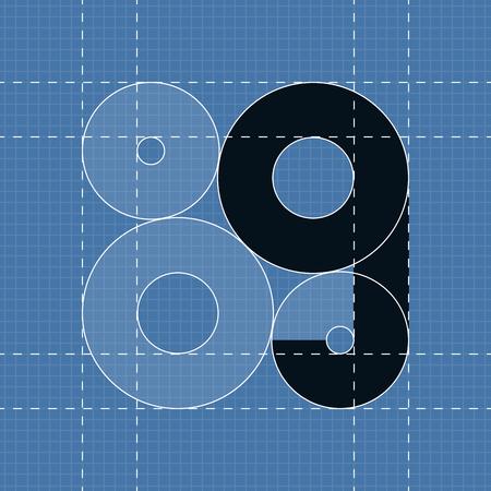 eps10 vector: Round engineering font. Symbol G Vector illustration in eps10 Illustration