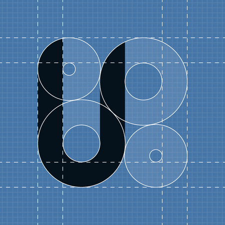 Round engineering font. Symbol U. Vector illustration in eps10