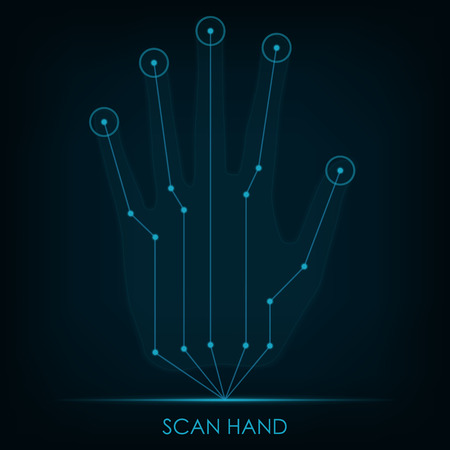 Scannen Hand.Scan Hand. Vektor-Illustration in eps10 Standard-Bild - 32287181