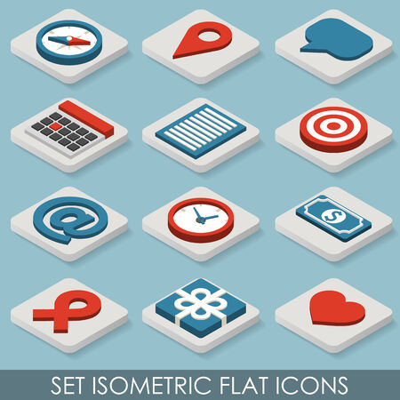 Flat Set Isometric Icons. Vector illustration in eps10 Vector