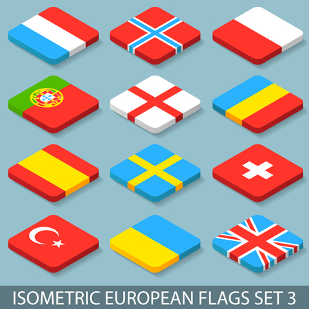 sweden flag: Flat Isometric European Flags Set 3.Vector illustration in eps10 Illustration