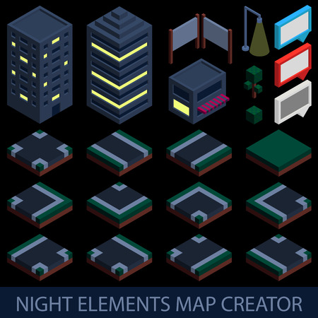 creator: Isometric night elements map creator.