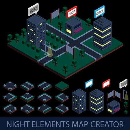 creador: Isom�trico elementos noche Mapa del Creador.