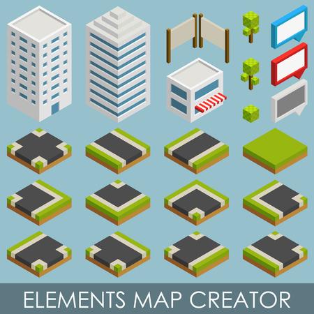 creador: Elementos isom�tricos mapa Creador. Vectores