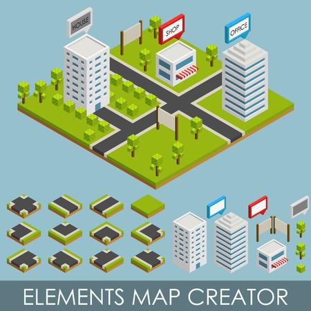 Elementos isométricos mapa Creador. Vectores