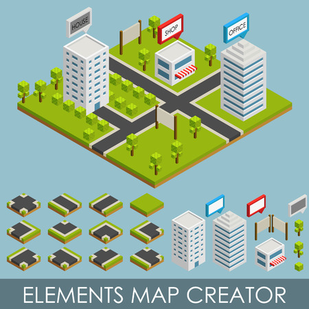 Isometric elements map creator. Vector