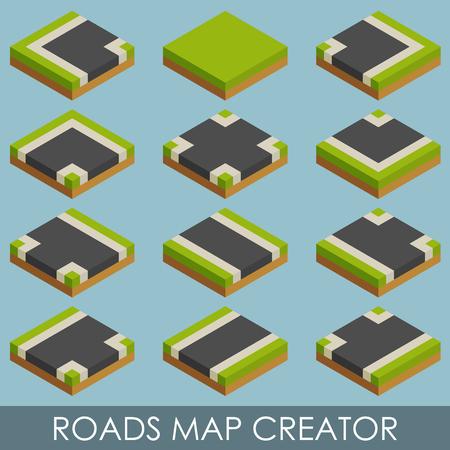 the creator: Roads map creator. Isometric.