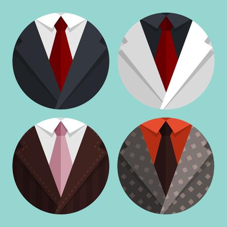 hombre fumando: Establecer chaqueta Business Flat y corbata. Vectores