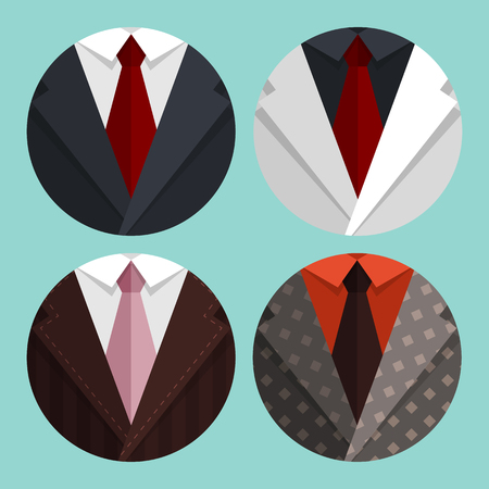 man smoking: Set Flat Business jacket and tie. Illustration
