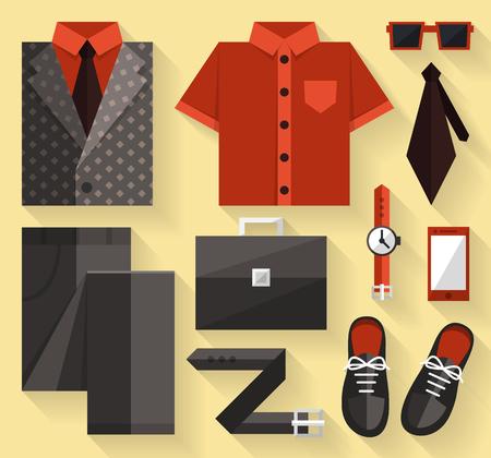 hombre fumando: Vestido de la colección de negocios plana. De color gris. Vectores