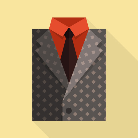 gray suit: Flat business jacket and tie. Gray color. Illustration