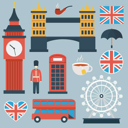 big ben tower: London flat icon set.  Illustration