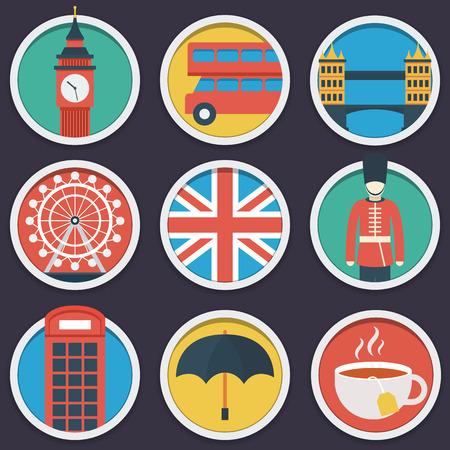 ferris wheel: London flat circle icon set.  Illustration