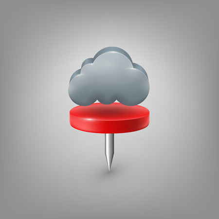 push pin: Red pin icon weather. Cloud.
